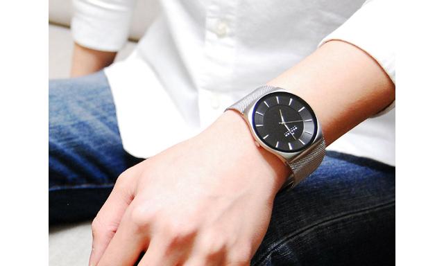 スカーゲンステンレスバンド腕時計