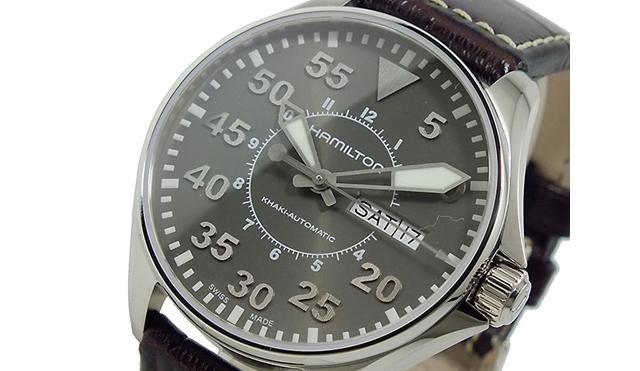 ハミルトン革バンド腕時計