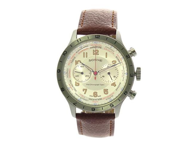 ゾンネ革ベルト腕時計