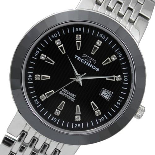 テクノス TECHNOS セラミックベゼル クオーツ メンズ 腕時計 T9387TB ブラック