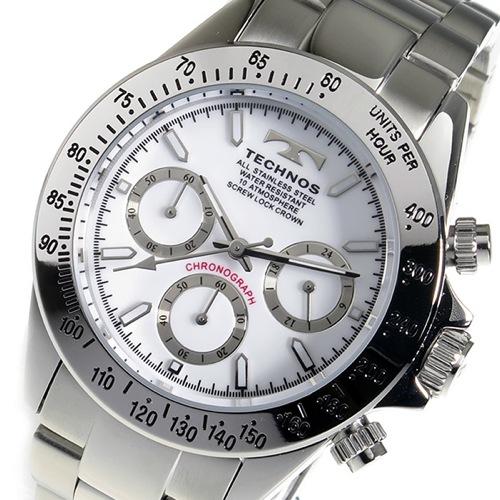テクノス TECHNOS クロノ クオーツ メンズ 腕時計 TSM401SW ホワイト