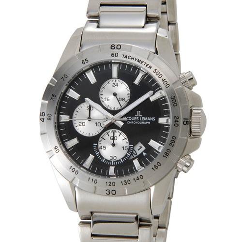 ジャックルマン リバプール クロノ デイト クオーツ メンズ 腕時計 1-1826D シルバー
