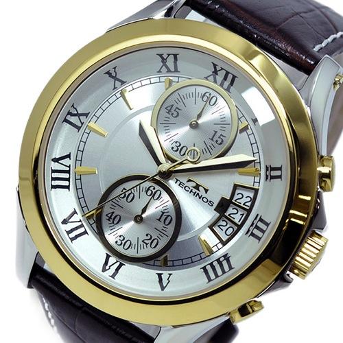 テクノス TECHNOS クオーツ メンズ クロノ 腕時計T4346GS シルバー