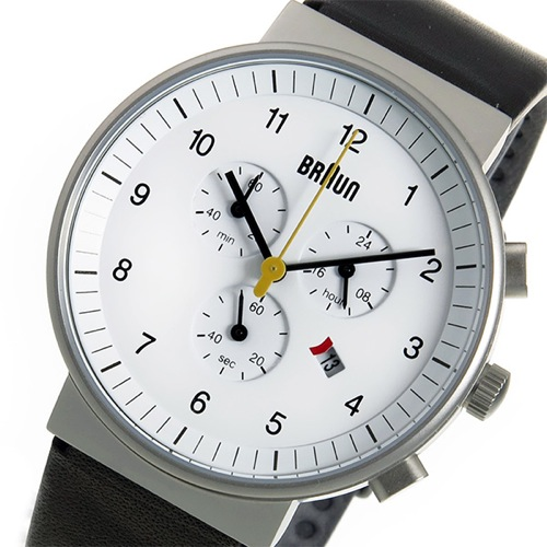 ブラウン BRAUN クロノ クオーツ メンズ 腕時計 BN0035WHBKG ホワイト