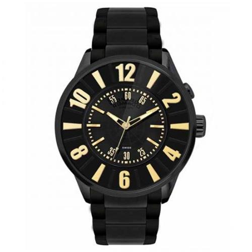ロマゴデザイン ヌメレーションシリーズ クオーツ メンズ 腕時計 RM007-0053SS-GD ブラック/ゴールド