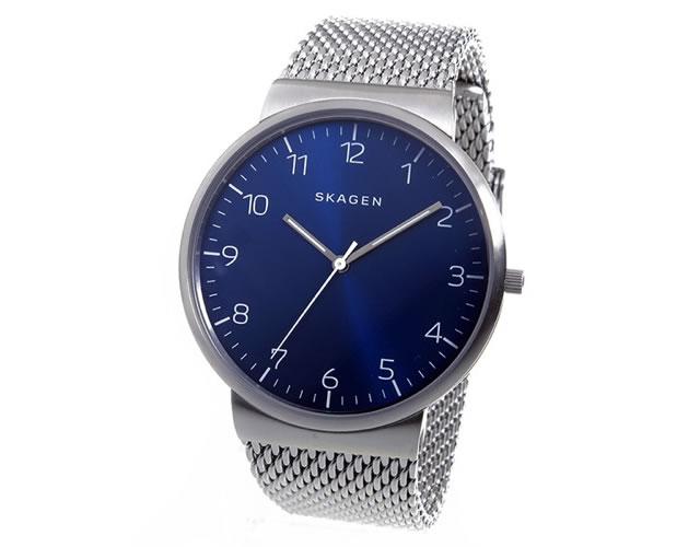 スカーゲンメッシュベルト腕時計
