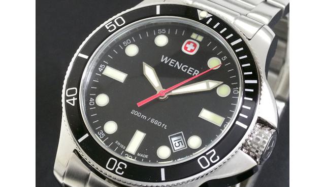 ウェンガーメタルバンド腕時計