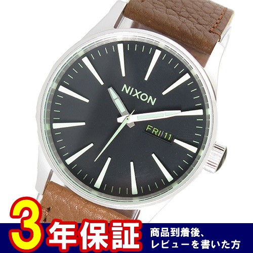 ニクソン セントリーレザー クオーツ メンズ 腕時計 A105-1037 ブラック