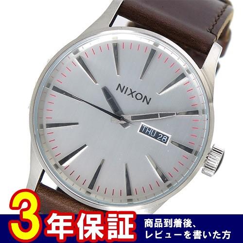 ニクソン セントリーレザー クオーツ メンズ 腕時計 A105-1113 シルバー></a><p class=blog_products_name