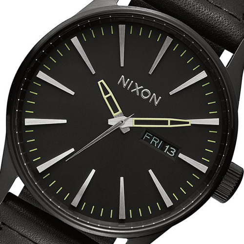 ニクソン NIXON SENTRY LEATHER クオーツ メンズ 腕時計 A105-1928 ブラック