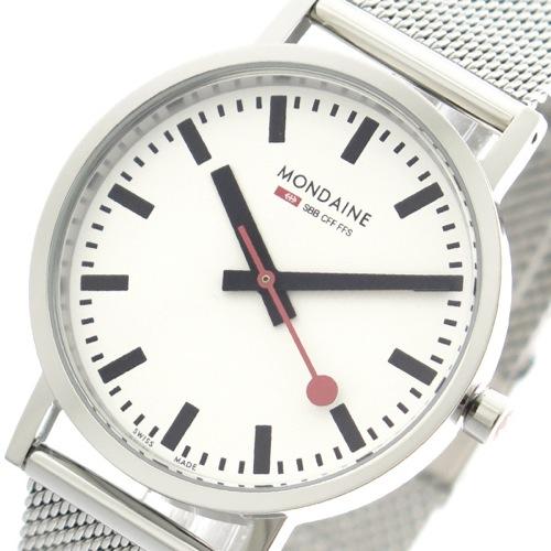 モンディーン MONDAINE 腕時計 メンズ レディース A660.30314.11SBV クォーツ ホワイト シルバー></a><p class=blog_products_name