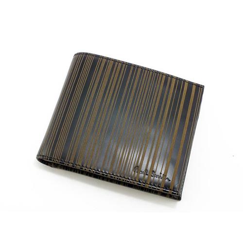 ポールスミス PAULSMITH 二つ折りメンズ 短財布 AHXA/1033/W502 ブラック×ブラウン