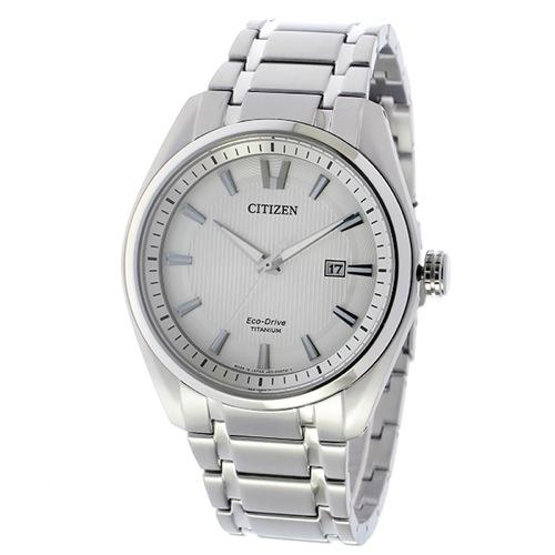 シチズン エコドライブ ソーラー チタン クオーツ メンズ 腕時計 AW1241-54A ホワイト