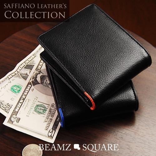 ビームス スクエア BEAMZ SQUARE 短財布 BS-1506BK/OR オレンジライン メンズ