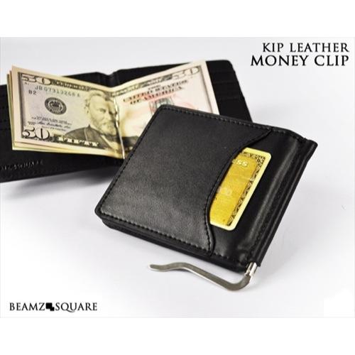 ビームス スクエア BEAMZ SQUARE メンズ 牛革製 マネークリップ 財布 ブラック