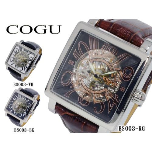 コグ COGU 自動巻き メンズ スケルトン 腕時計 BS003-RG ローズゴールド