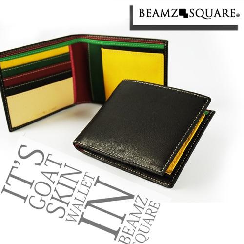 ビームス スクエア BEAMZ SQUARE 短財布 BZSQ338BK-MLT ブラック/マルチカラー