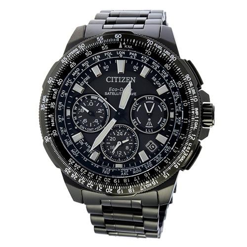 シチズン エコドライブ サテライト クロノ ソーラー メンズ 腕時計 CC9025-51E ブラック