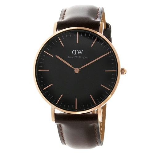 ダニエル ウェリントン クラシック ブラック ブリストル/ローズ 36mm ユニセックス 腕時計 DW00100137