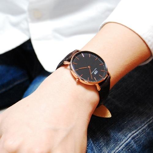 ダニエル ウェリントン クラシック ブラック ヨーク/ローズ 36mm ユニセックス 腕時計 DW00100140