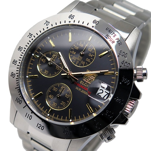 エルジン ELGIN クオーツ クロノ メンズ 腕時計 FK1184S-GB ブラック