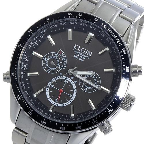 エルジン ELGIN 電波 ソーラー クロノ メンズ 腕時計 FK1412S-BP ブラック