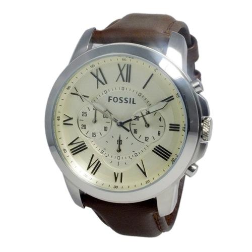 フォッシル FOSSIL グラント クオーツ メンズ クロノ 腕時計 FS4735 アイボリー