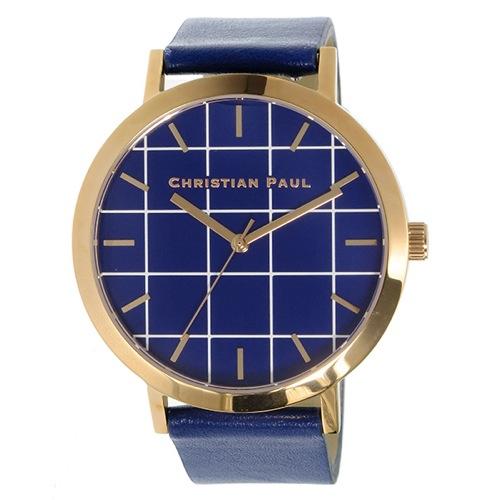 クリスチャンポール グリッド BALMORAL ユニセックス 腕時計 GR-07 ブルー