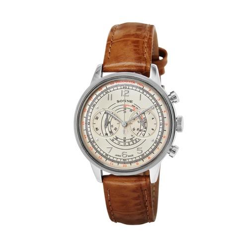 ゾンネ SONNE ヒストリカルコレクション クロノ クオーツ メンズ 腕時計 HI001SV アイボリー