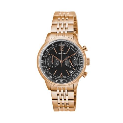 ゾンネ SONNE ヒストリカルコレクション クロノ クオーツ メンズ 腕時計 HI002PG ブラック