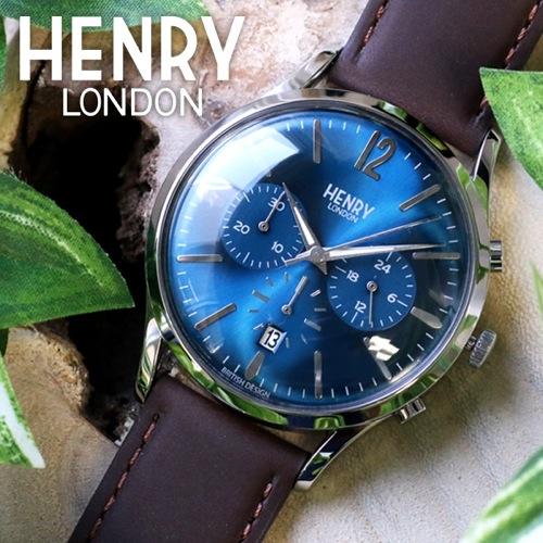 ヘンリーロンドン ナイツブリッジ 41mm ユニセックス HL41-CS-0107 ブルー/ブラウン
