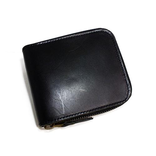 栃木レザー ラウンドファスナー メンズ 二つ折り財布 IJ-911-BK ブラック