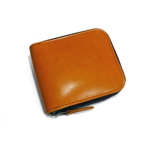 栃木レザー ラウンドファスナー メンズ 二つ折り財布 IJ-911-CA キャメル