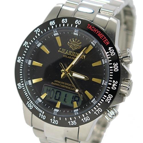 ジョンハリソン ソーラー 電波時計 メンズ 腕時計 JH-094GB ガンメタ/ゴールド></a><p class=blog_products_name