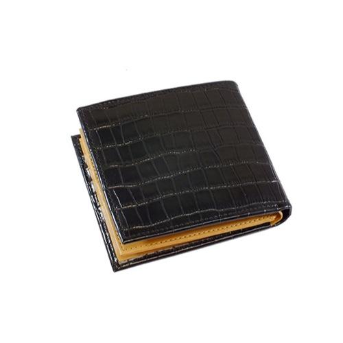 ジョンハリソン クロコ型押し メンズ 二つ折り 短財布 JWT-008-BK ブラック