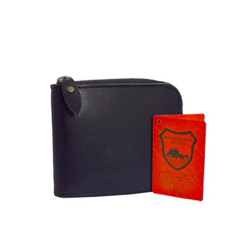 栃木レザー ラウンドファスナー メンズ 二つ折り財布 L-20160-BK ブラック
