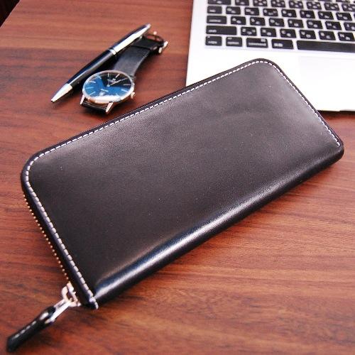 栃木レザー サマーオイルレザー ラウンド 長財布 L-20345-BK ブラック