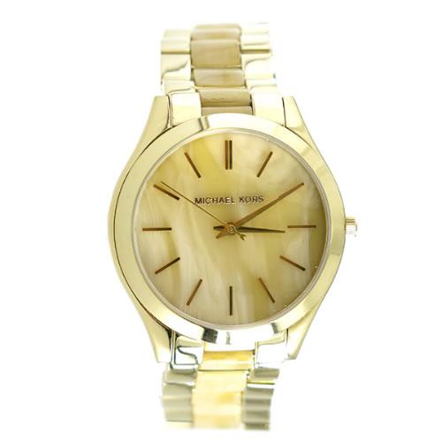 マイケルコース MICHAELKORS スリム ランウェイ Slim Runway クオーツ ユニセックス 腕時計 MK4285 ホーンベージュ></a><p class=blog_products_name