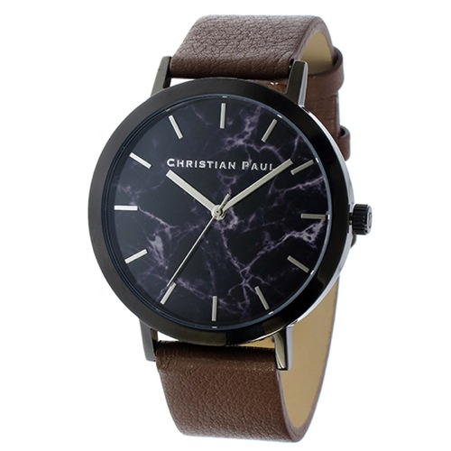 クリスチャンポール マーブル ユニセックス 腕時計 MR-02 ブラック/ブラウン