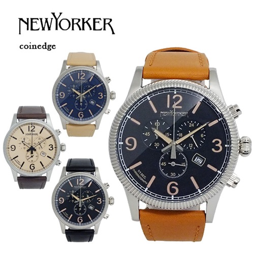 ニューヨーカー コインエッジ クロノ メンズ クオーツ 腕時計 NY008.03N