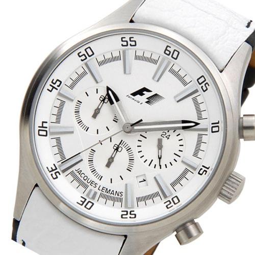 ジャックルマン F1モデル クオーツ メンズ クロノ 腕時計 PF-5034B ホワイト