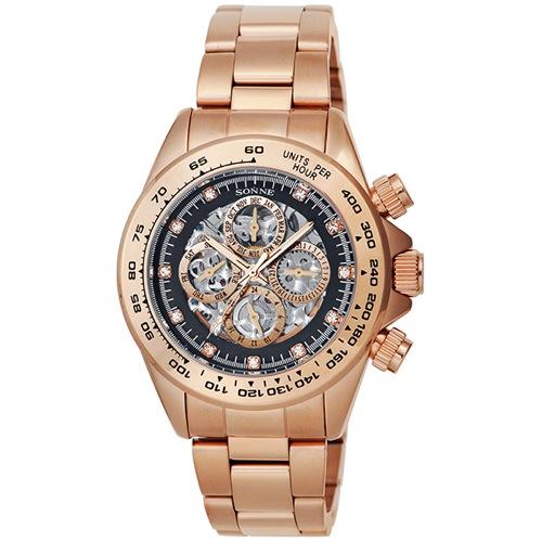 ゾンネ SONNE 自動巻き メンズ 腕時計 S159PGB ブラック