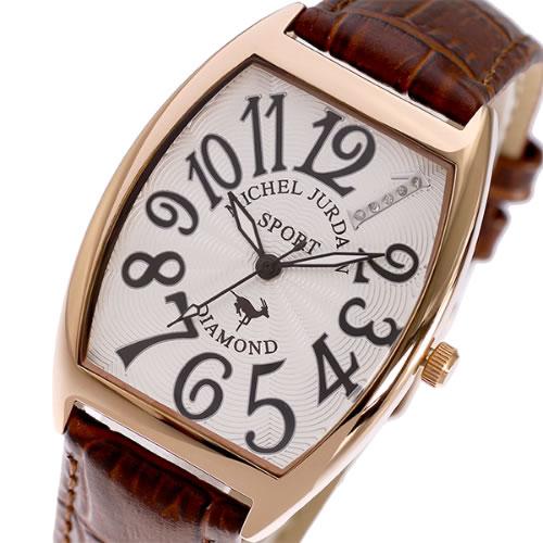 ミッシェルジョルダン MICHEL JURDAIN 天然ダイヤモンド クオーツ メンズ 腕時計 SG-1100-6BR ホワイト/ブラウン></a><p class=blog_products_name