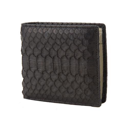 ロダニア RODANIA パイソン革 メンズ 二つ折財布 SNJN0012BBK ブラック