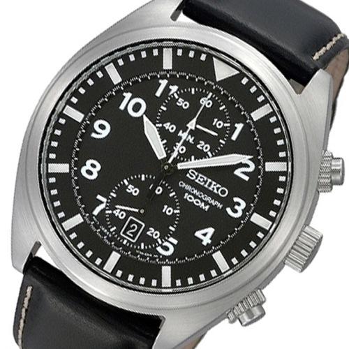 セイコー SEIKO クロノ クオーツ メンズ 腕時計 SNN231P2 ブラック