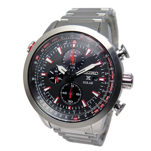 セイコー プロスペックス クロノ ソーラー メンズ 腕時計 SSC349P1 ブラック