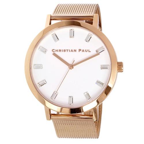 クリスチャンポール 43mm ユニセックス 腕時計 SWM-02 ローズゴールド/ホワイト