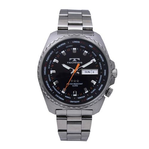 テクノス TECHNOS ワールドタイム クオーツ メンズ 腕時計 T2382SB ブラック