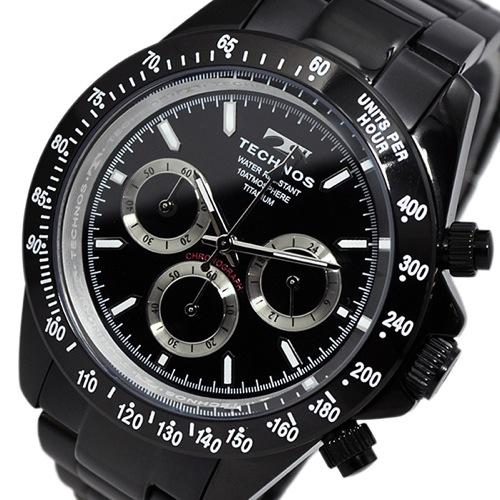 テクノス TECHNOS クオーツ メンズ クロノ 腕時計 T4322BB ブラック