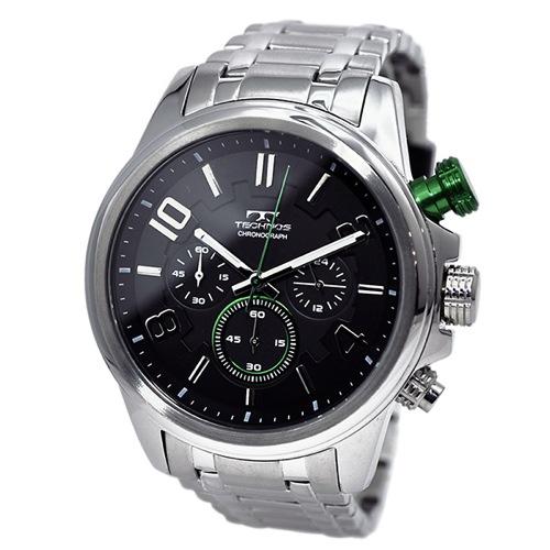 テクノス TECHNOS クオーツ メンズ クロノ 腕時計 T6343SG ブラック×グリーン